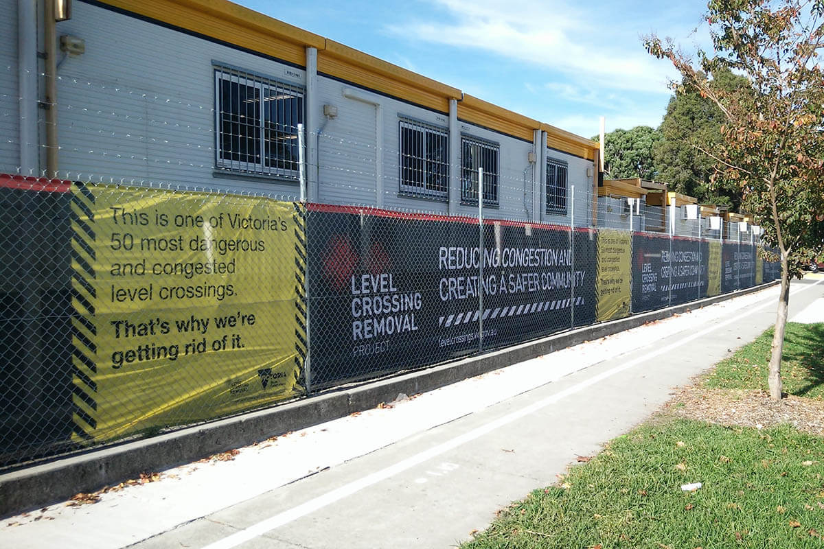 Printed Shadecloth Level Crossing Removals
